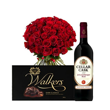 Red Roses Bouquet + Walkers Classics Dark Chocolate + Cellar Cask Red Wine 750 ml Package