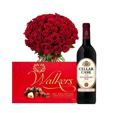 Red Roses Bouquet + Walkers Classics Milk White & Dark Chocolate + Cellar Cask Red Wine 750ml