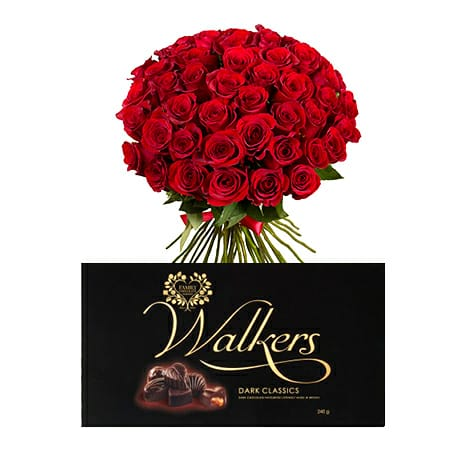 Red Roses Bouquet + Walkers Classics Dark Chocolate Package
