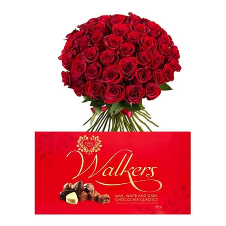 Red Roses Bouquet + Walkers Classics Milk White & Dark Chocolate Package