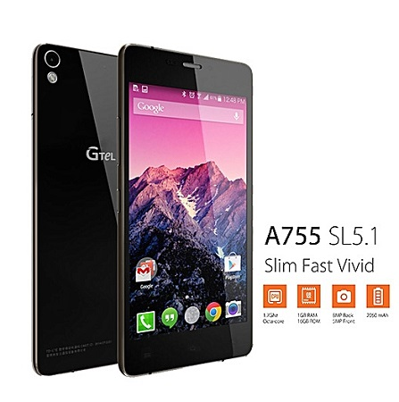 Gtel A755 SL5.1: 4.8 inch, 16GB, 1GB RAM, Single SIM - Black