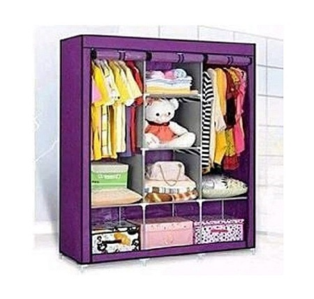 3 Column Wooden Wardrobe-Purple