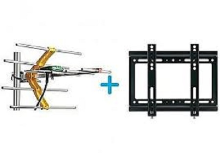 Digital TV Aerial + 10M Cable + TV Wall Mount Bracket 14 - 42 INCH black medium