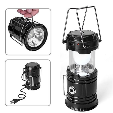 103.LED Portable Solar Rechargeable Light Lantern Outdoor Camping Lamp USB Charger Black