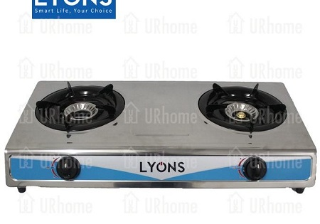 Lyons Glass Top Gas Stove Double Burner GS005 black one size