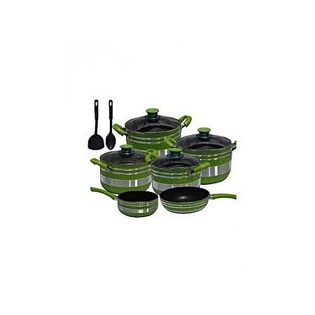 Non Stick Cooking Pots Set - 12 Pieces - Green & Silver