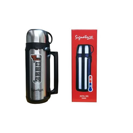 Signature 1.8L Stainless Steel Double Wall Hot Or Cold Thermos Flask - Silver