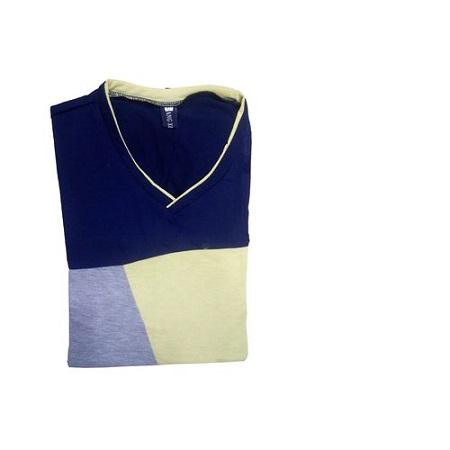 Casual Color V Neck T-shirt multicolor