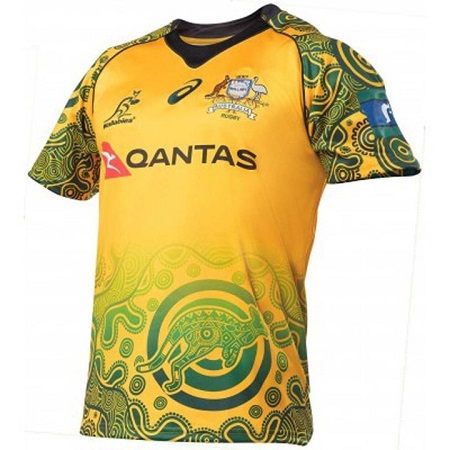 Australia Wallabies 2017/18 Men's Replica Rugby Jersey Yellow (wallabies gold) Green