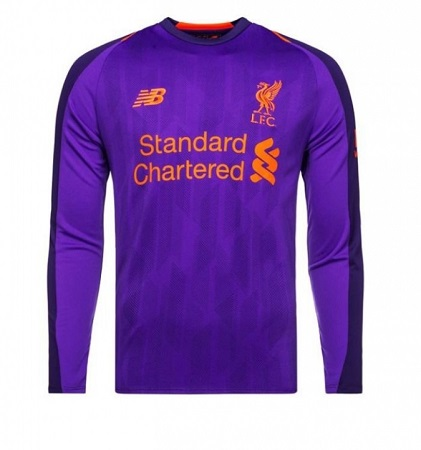 Liverpool Away REPLICA Long Sleeve Football Jersey 2018/19 Purple-Away Polyester