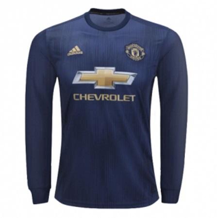 Manchester United REPLICA 3rd Kit Long Sleeve Football Jersey Shirt 2018/19 Navy Blue - 3rd Kit Polyester