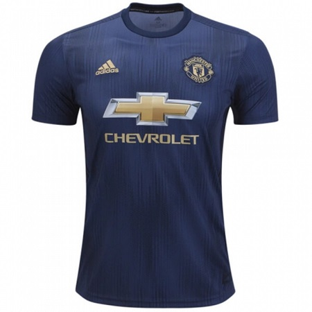Manchester United REPLICA 3rd Kit Football Jersey Shirt - Season 2018-2019 Navy Blue Polyester