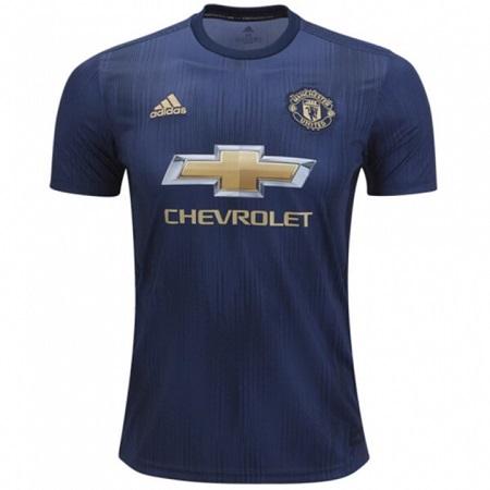 Manchester United REPLICA 3rd Kit Football Jersey Shirt - Season 2018-2019 Navy Blue Polyester
