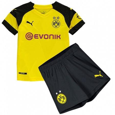 The New 2018-2019 Kids/Children Borussia Dortmund Home Kit REPLICA Football Jersey & Short Home  Polyester