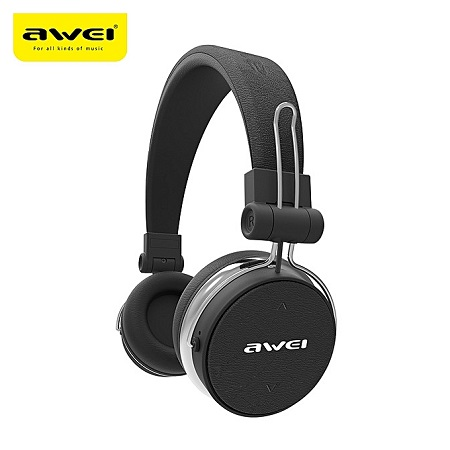 Awei A500 BL Foldable Hi-FI Stereo Wireless Headphones Bluetooth Headset with noise Cancellation - Black