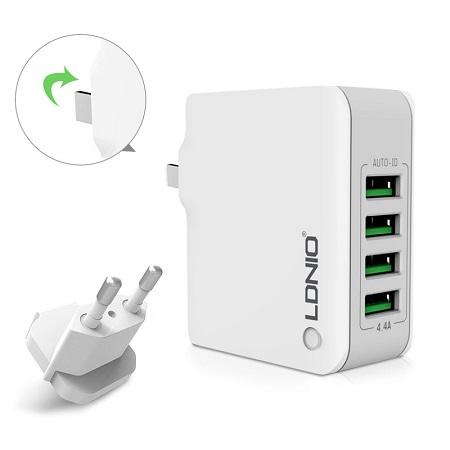 LDNIO Rapid Charge 4 USB Port AUTO ID 4.4A Travel Charger - White