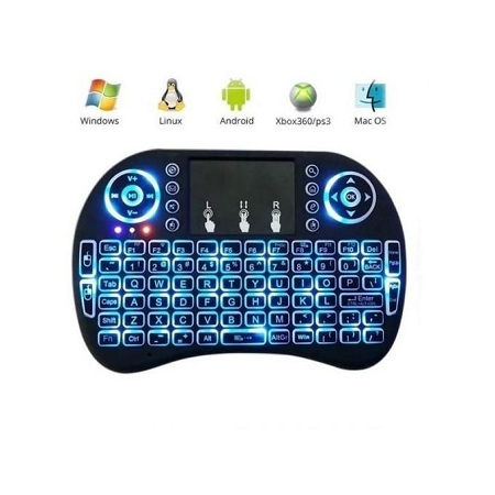 Smart Wireless Keyboard with Touch pad for Smart TV - Black