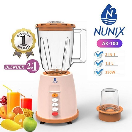 Nunix AK-100, 2 in 1 Blender with Grinding Machine- 1.5L