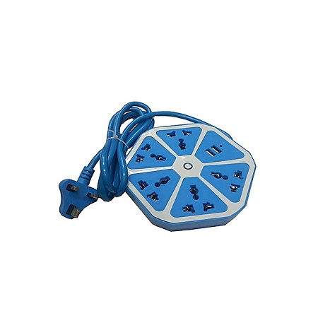 Hexagonal Extension With USB Ports - Blue