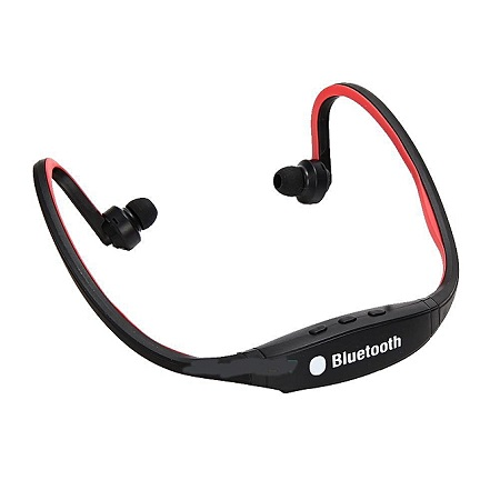 Sport Headset Earphone Universal with MIC in Ear for Smartphone Handfree Wireless Bluetooth Headphone Earpieces - Black And Red