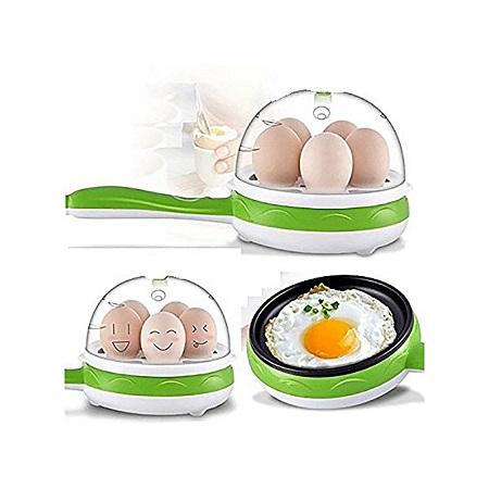 Non Stick Multi function Electric Frying Pan & Egg Boiler/Steamer - Green