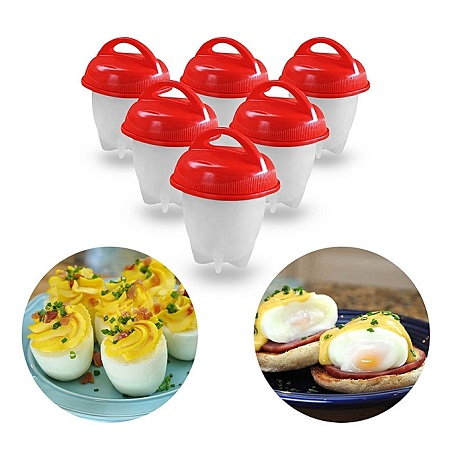 6 piece silicon Egg Boiler High-temperature Resistant Egg Cooker Kitchen Utensils Specification - Red