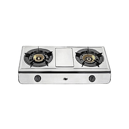 Stainless steel Table Top Gas Stove - 2 Burner silver