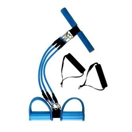 Fitness Equipment Adjustable Sit-up Spring Exerciser Elastic Body Building Expander blue