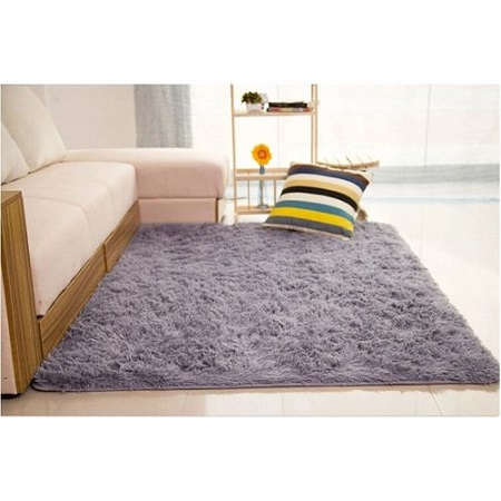 Shaggy Anti-skid Carpet Rugs Floor Mat - grey
