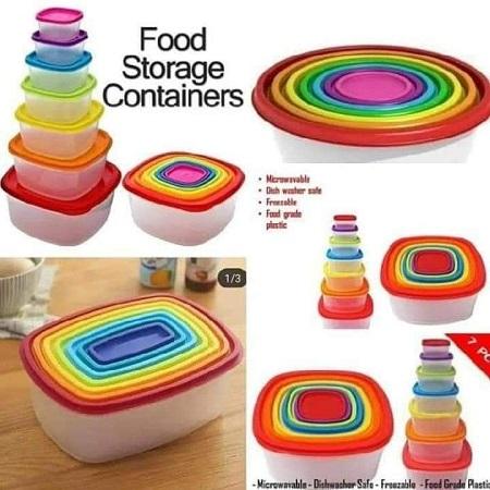 7 Pcs Set Colourful Food Storage Containers multi- coloured Square