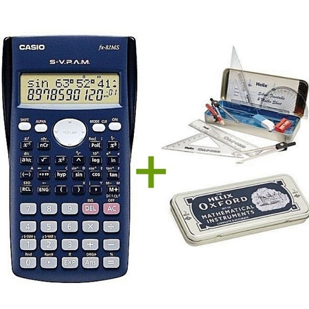 Casio Scientific Calculator + Oxford Geometrical set Grey