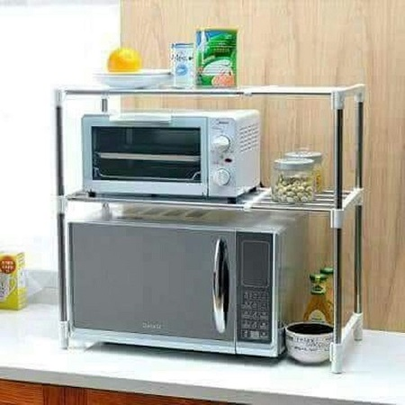 Multi-Functional Microwave Oven 2 Layer Stand Shelf Storage Rack Silver 1 Piece