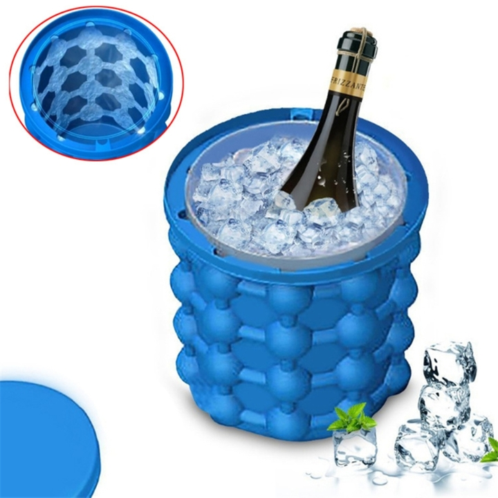 Silicone Ice Cube Maker Genie Ice Cube Bucket Blue 1 pc