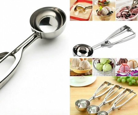 Stainless Steel Ice Cream Scoop Silver Big