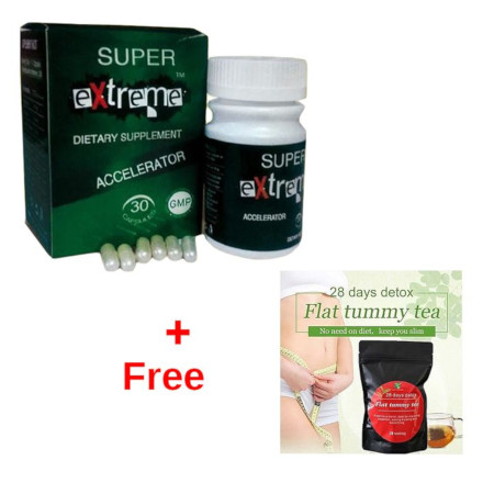Super Extreme Dietary Supplement Accelerator Weight Loss + 28 Detox Flat Tummy Tea