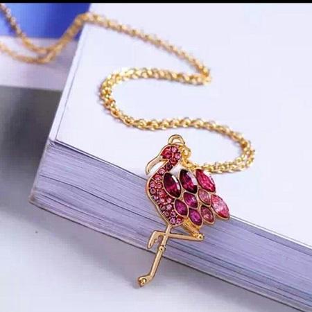Gold Coated Pink Flamingo Pendant
