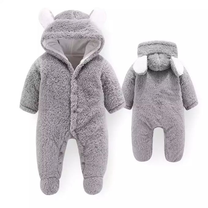 Grey Fluffy And Warm Baby Rompers