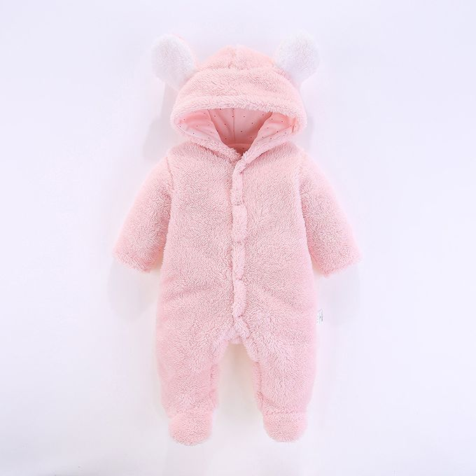 Pink Fluffy And Warm Baby Romper