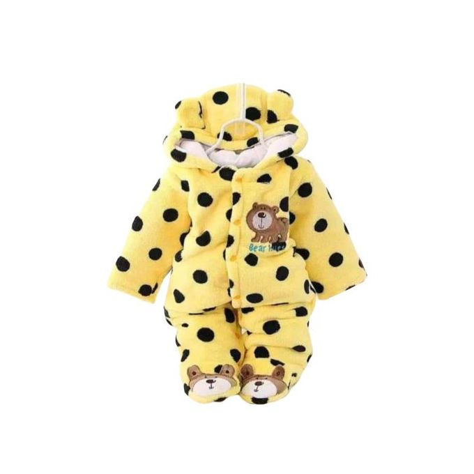 Warm Yellow Dotted Baby Romper