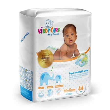 KIDDYCARE Baby Diapers (Medium, 6-11 Kgs) 44 Pieces