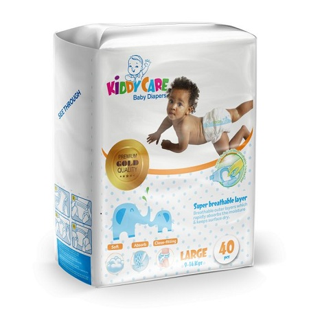KIDDYCARE Baby Diapers (Large, 9-14Kgs) 40 Pieces