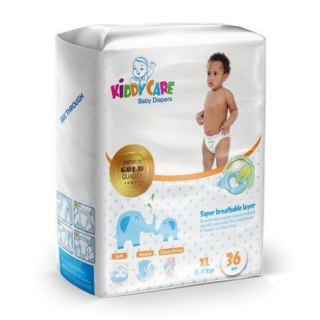 KIDDYCARE Baby Diapers (X-Large, 12-17 Kgs) 36 Pieces
