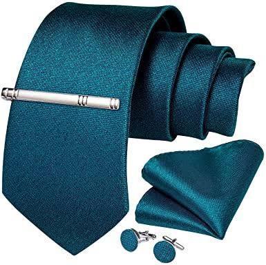 4 Piece Valentines Gift Set for Him- Tie, Cufflinks, Pocket Square, Tie Clip