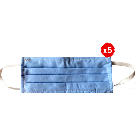 Blue Washable And Reusable 3 Layer Face Masks With Ear Loops- 5 Pieces