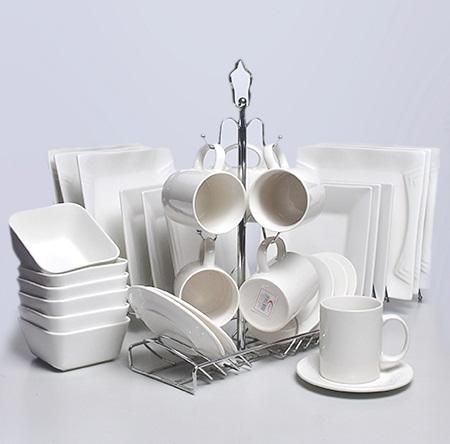 24 pc Ceramic square Dinner set