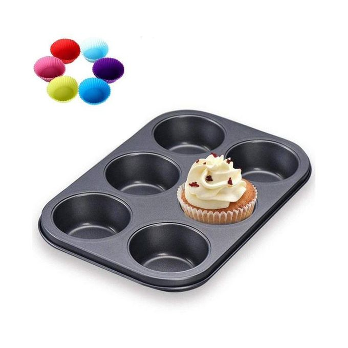 6-Hole Non-Stick Muffin / Cupcake Tray Baking Tray Pan
