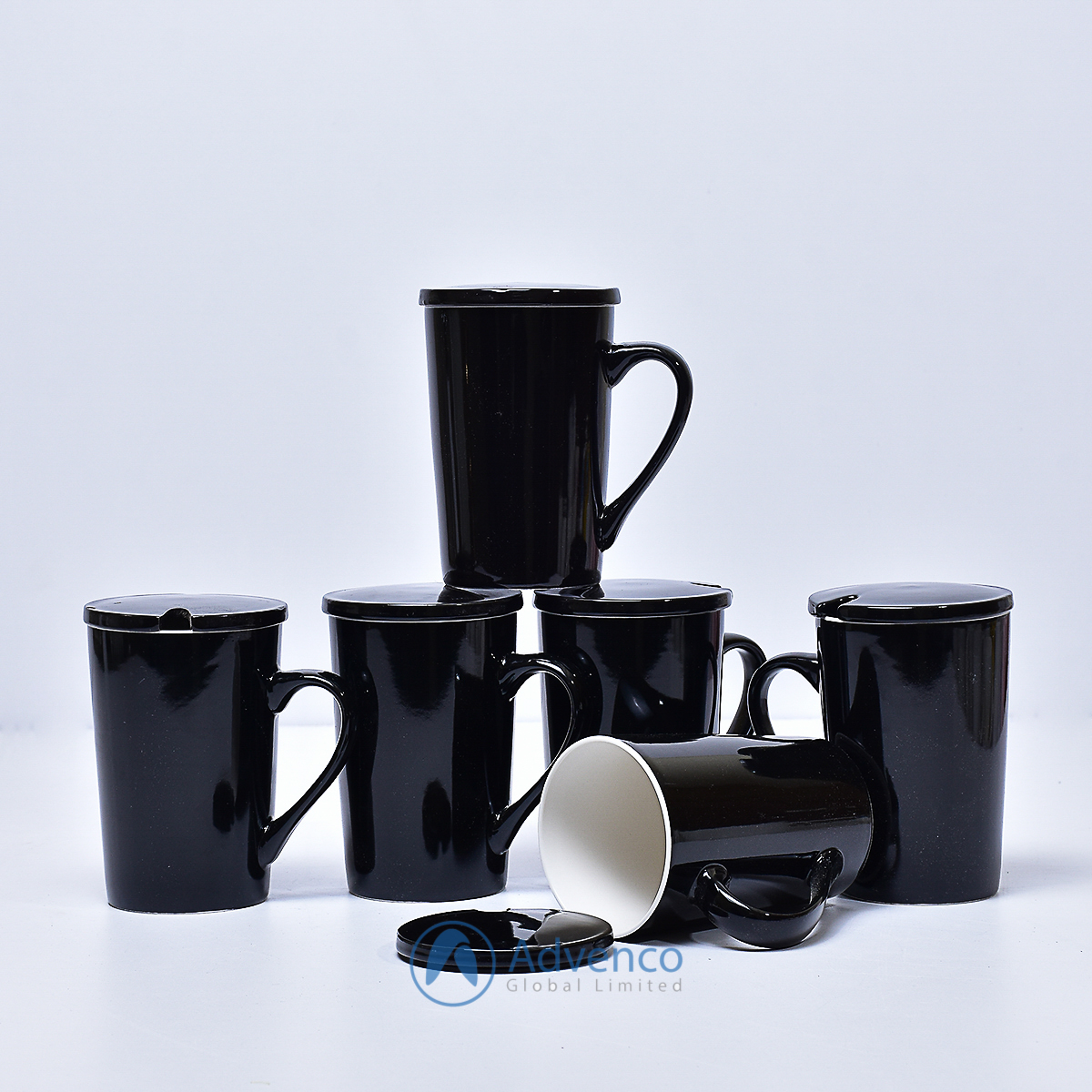 Black Ceramic cup with cover 6 pcs