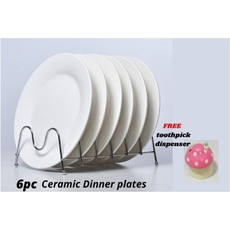 Ceramic White Round 10 Inch Dinner Plates 6 Pc