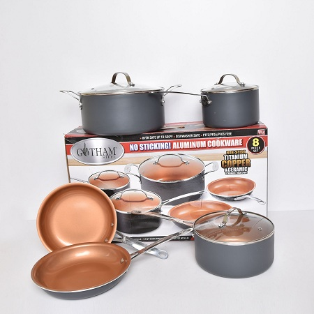 Gotham copper non stick cookware 8 pc set