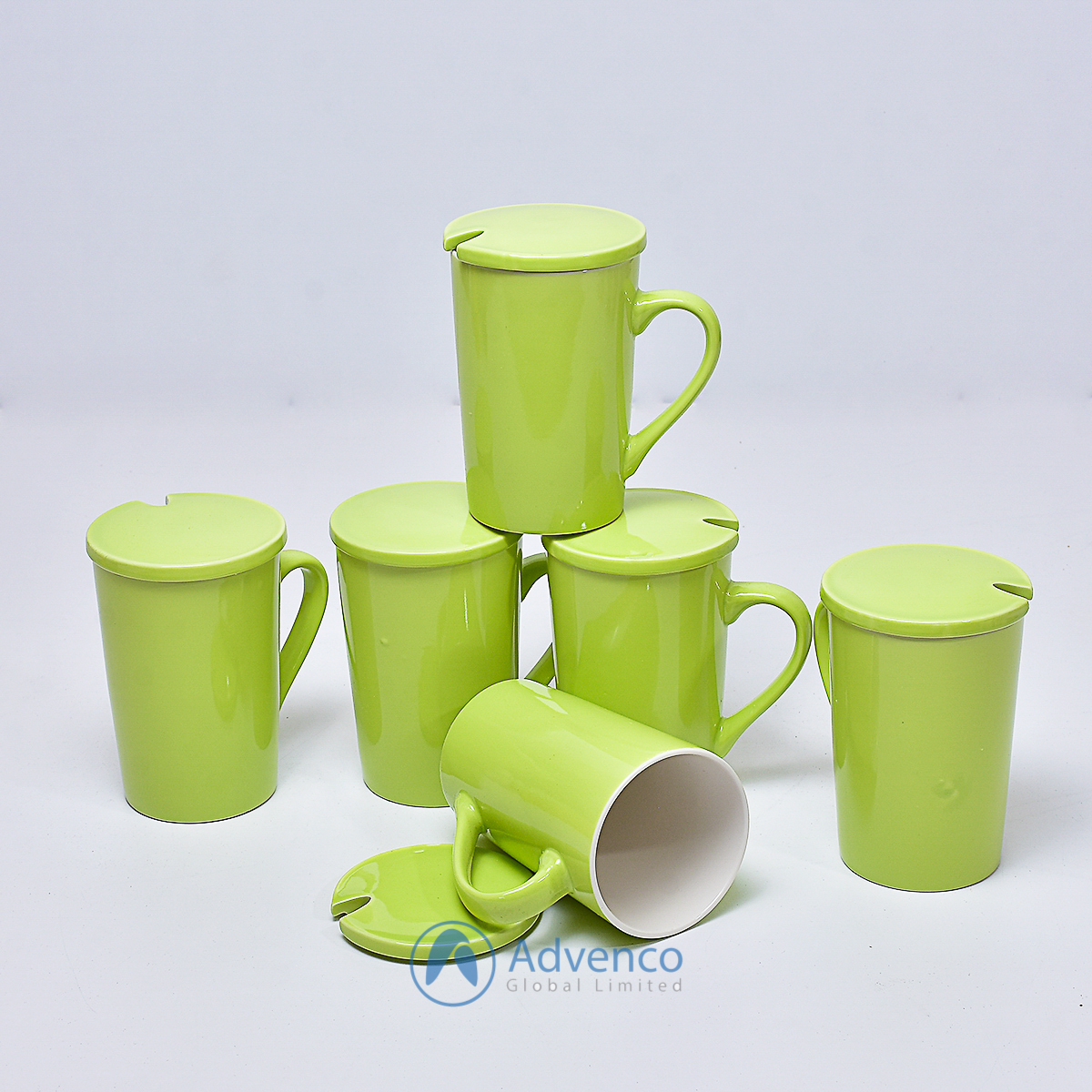 Green Ceramic cup with cover 6 pcs